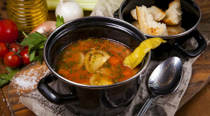 Рецепт Острый овощной суп с зелеными помидорами