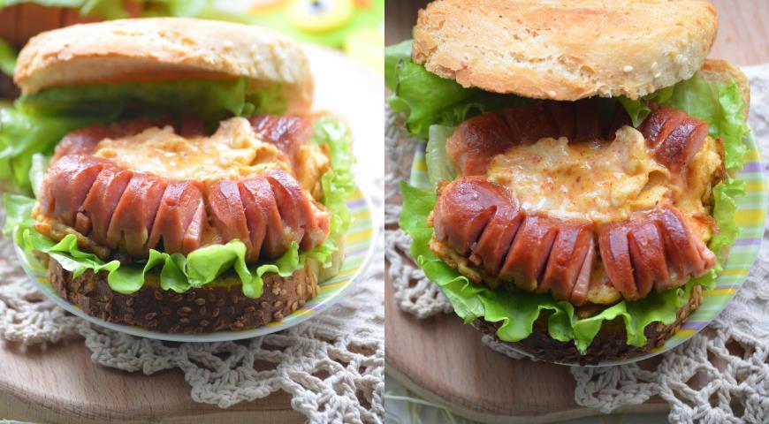 Сендвич С Сосиской Между Булочек