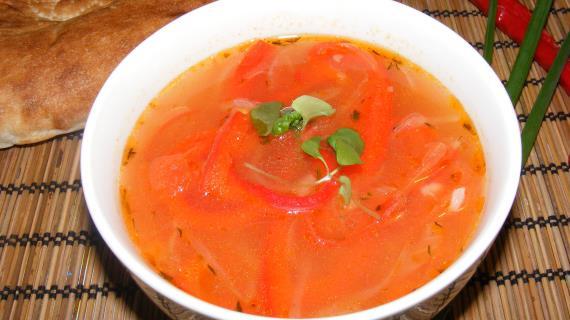 Суп с рисом и печеными овощами