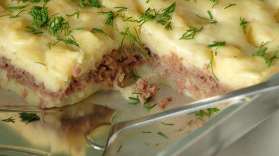 картофельная запеканка с отварным мясом в духовке рецепты