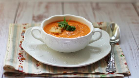 Суп-пюре из печеных перцев и цветной капусты