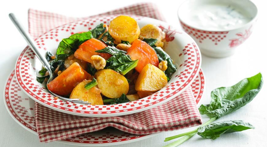 Молода картопля зі шпинатом і каррі