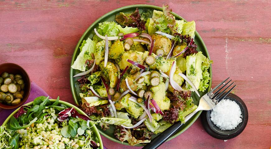 Зеленый салат с мятым молодым картофелем, пошаговый рецепт с фото
