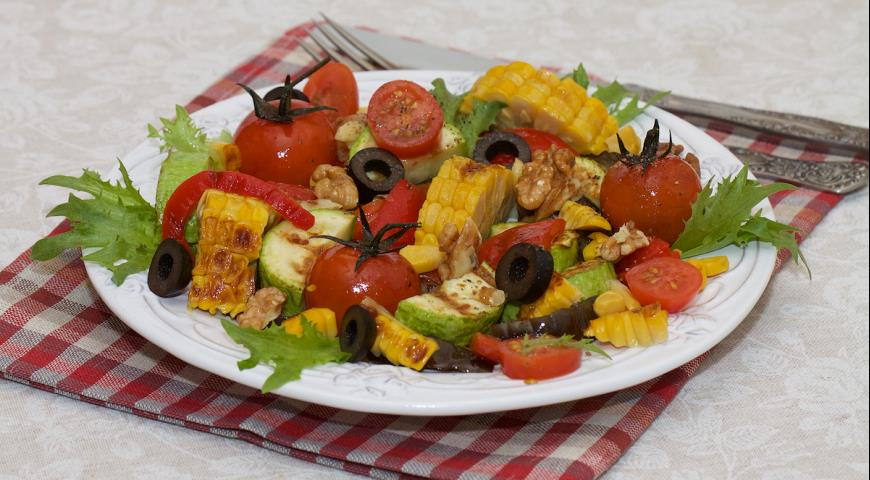 салат из овощей на гриле рецепт