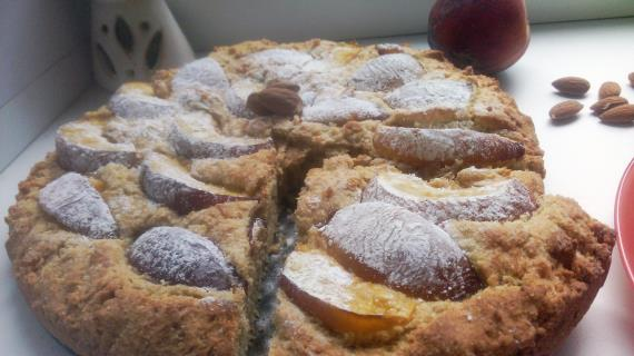 Простой пирог с персиками рецепт с фото
