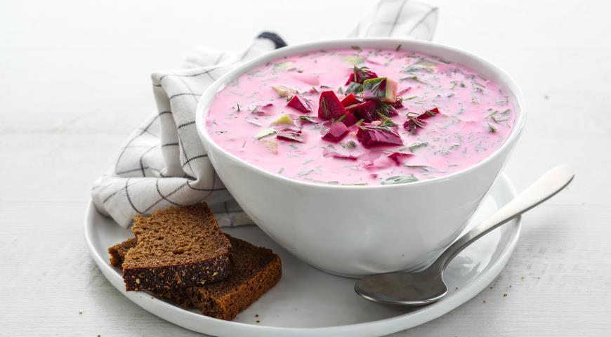 Холодный суп из простокваши и свеклы, пошаговый рецепт с фото
