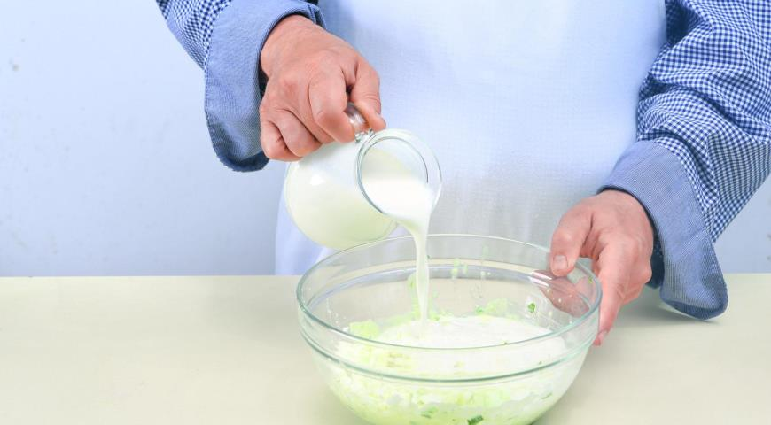 Вегетарианская окрошка на кефире, пошаговый рецепт с фото