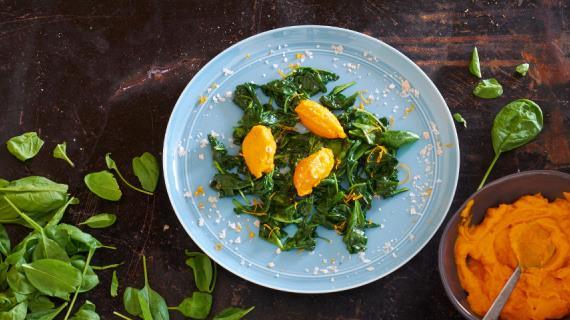 Морковный мусс и шпинат от Алена Пассара