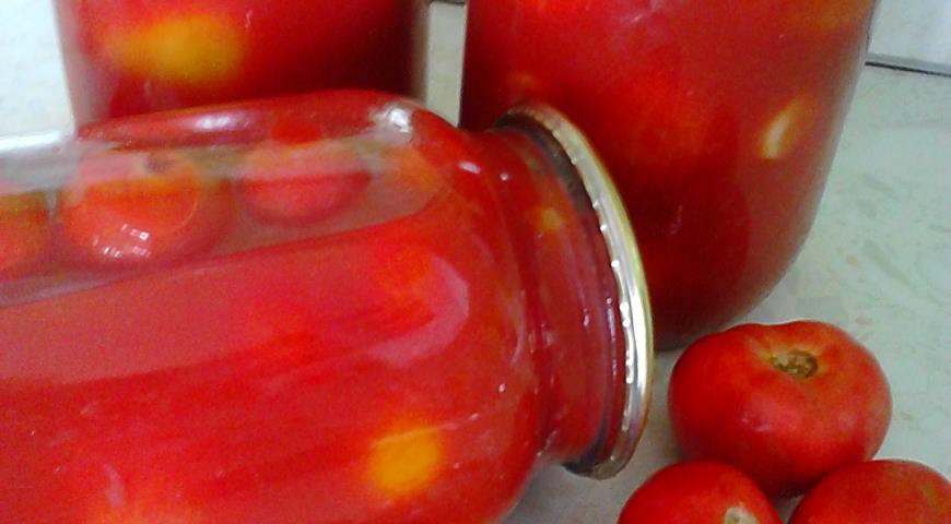 Помидоры в томатном соке, пошаговый рецепт с фото