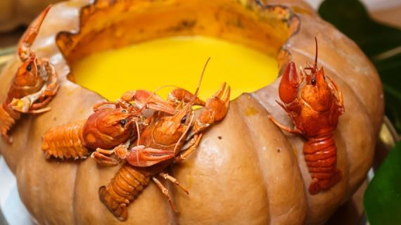 Тыквенный суп с раками