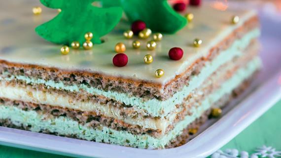 Торт «Опера» с зеленым чаем