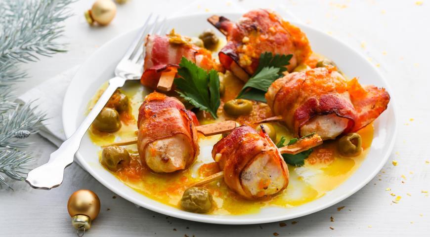 Куриные рулетики соливками иапельсиновым соусом