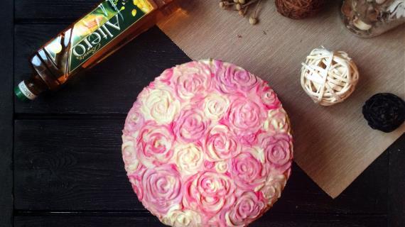 """Вкуснейший ягодный торт, назовём его, пожалуй, """"Розовые грёзы"""""""