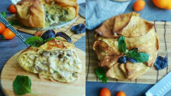 Блинный пирог с курицей и грибами в сырной заливке