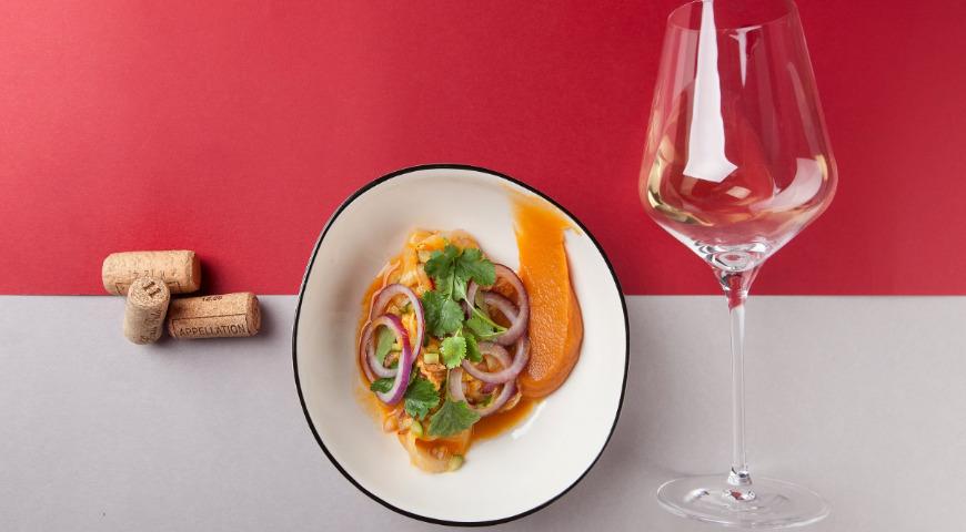 Севиче из сибаса с соусом из манго и пюре из батата, пошаговый рецепт с фото