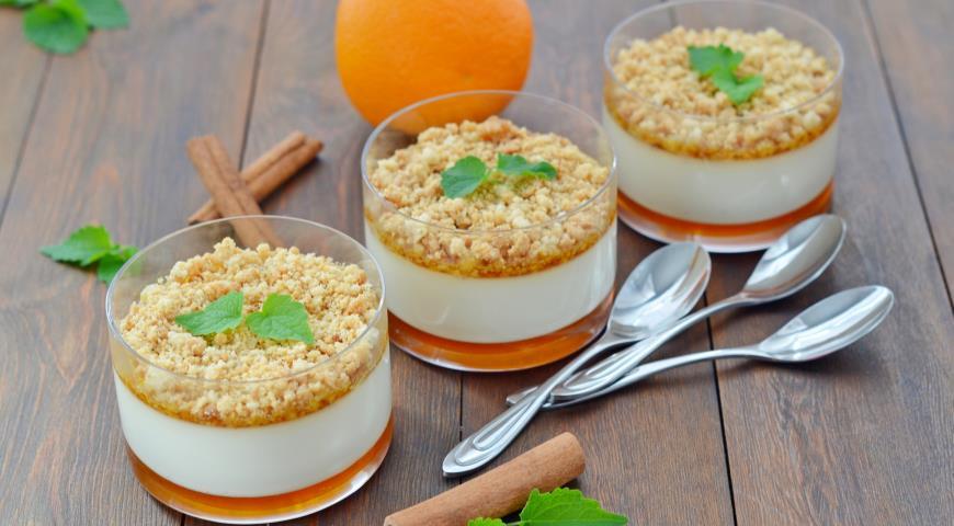 Панна-котта с апельсиновой карамелью и штрейзелем, пошаговый рецепт с фото