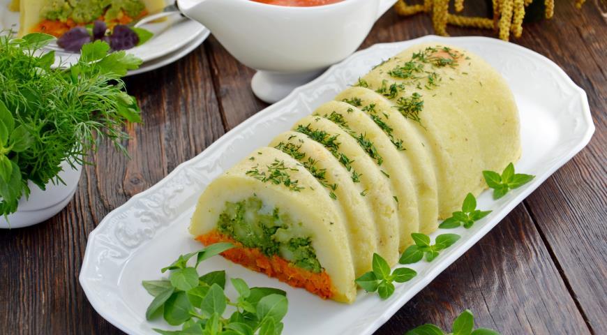 Картопляно-морквяна запіканка з брокколі