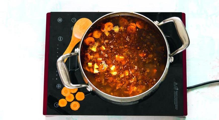 Суп с овощами, говядиной и гречкой. Шаг 4