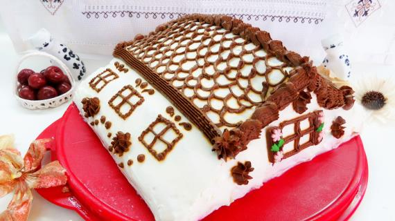 """Блинный торт с вишней """"Монастырская избёночка"""""""