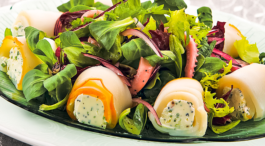 салат с кольцами кальмара рецепт с фото и