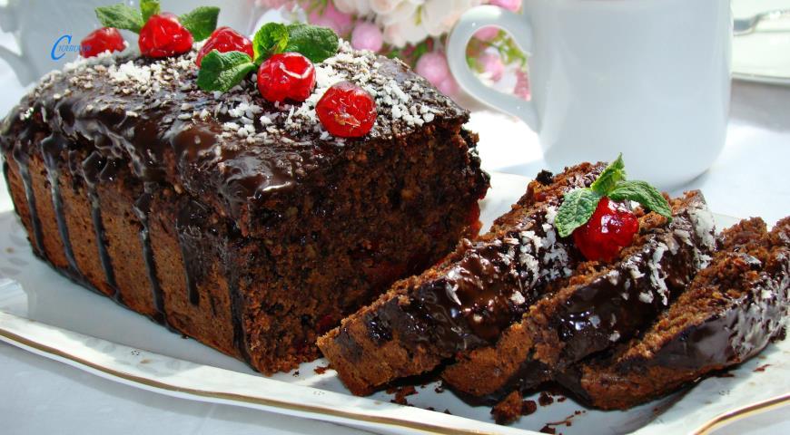 Постный кекс с вишней