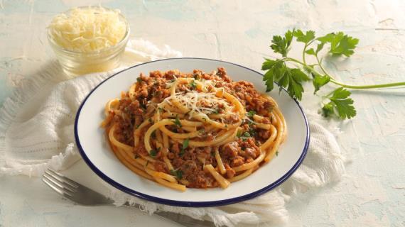Спагетти с фаршем по флотски