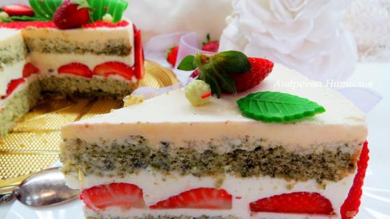 Мятный торт с клубникой