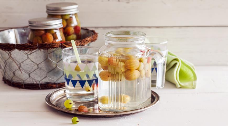 Компот из крыжовника с лимоном и мятой, пошаговый рецепт с фото