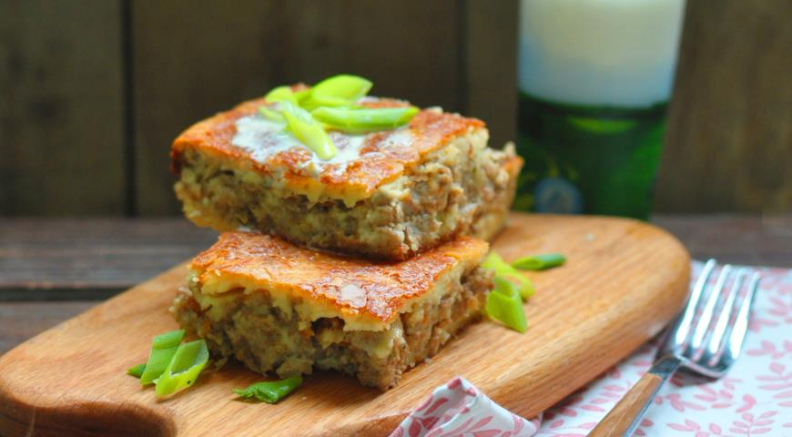 пирог с мясом на кефире рецепт с фото