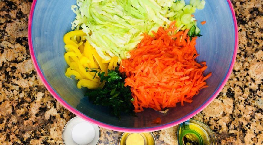 Салат «Будь в форме» с капустой, болгарским перцем, морковью и сельдереем. Шаг 1