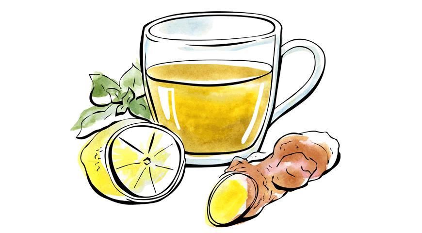 имбирь и чай с лимоном