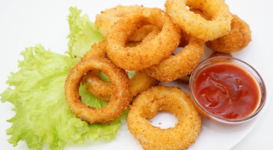 Луковые кольца с сыром во фритюре, пошаговый рецепт с фото