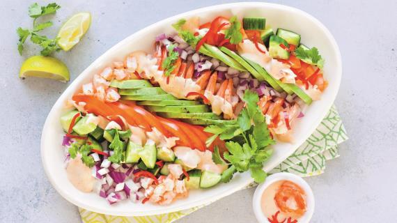 Салаты с морепродуктами креветками