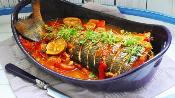 Балык Булама - рыба на подушке из овощей