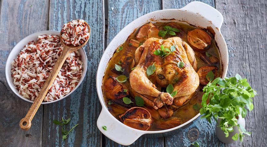 Запеченная на порее курица с базиликовым маслом и лимонами, пошаговый рецепт с фото