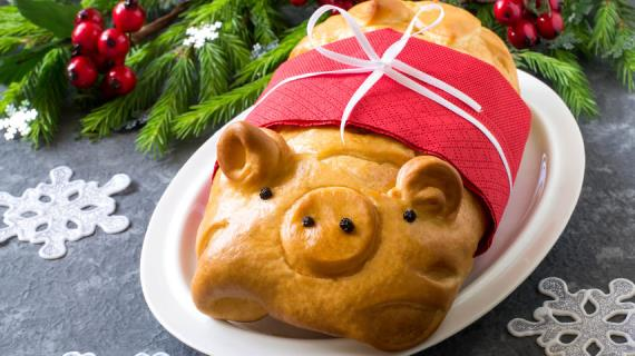 Новогодний пирог Свинья Копилка