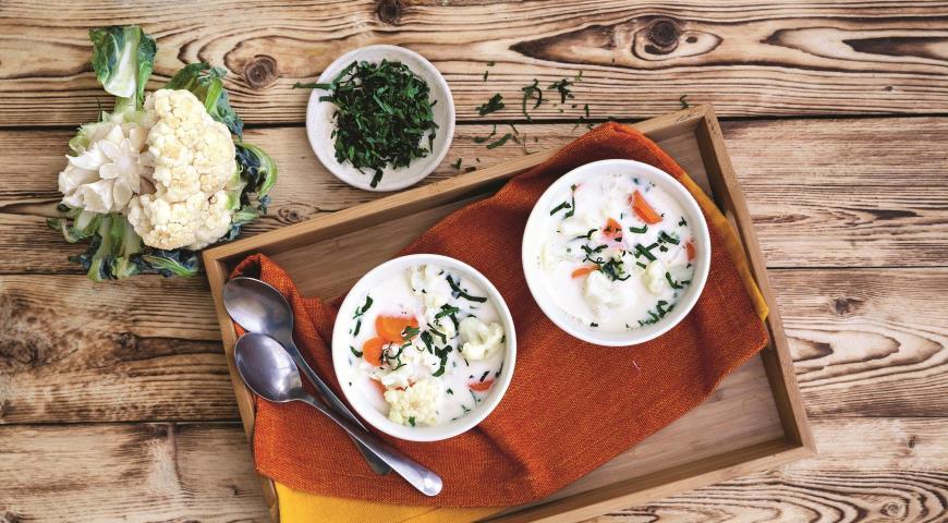 Суп с пшеном и цветной капустой
