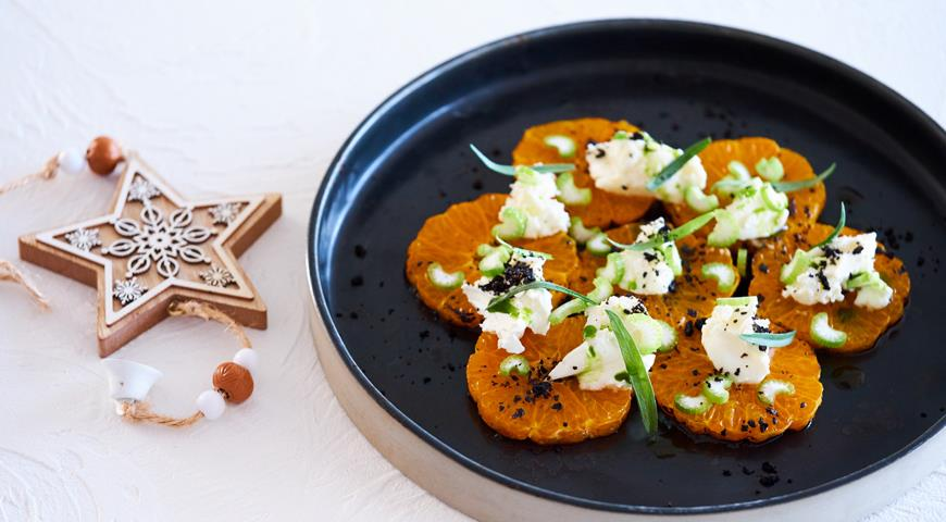 Жженые мандарины с козьим сыром и тархуном