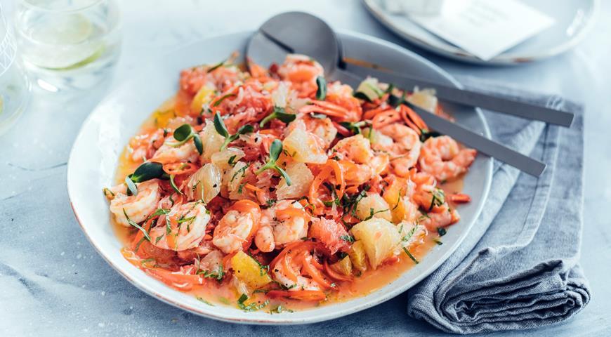Салат из цитрусовых с креветками, пошаговый рецепт с фото