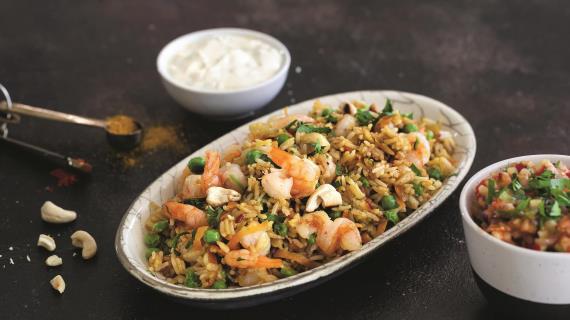 Рис по-индийски с креветками за 15 минут
