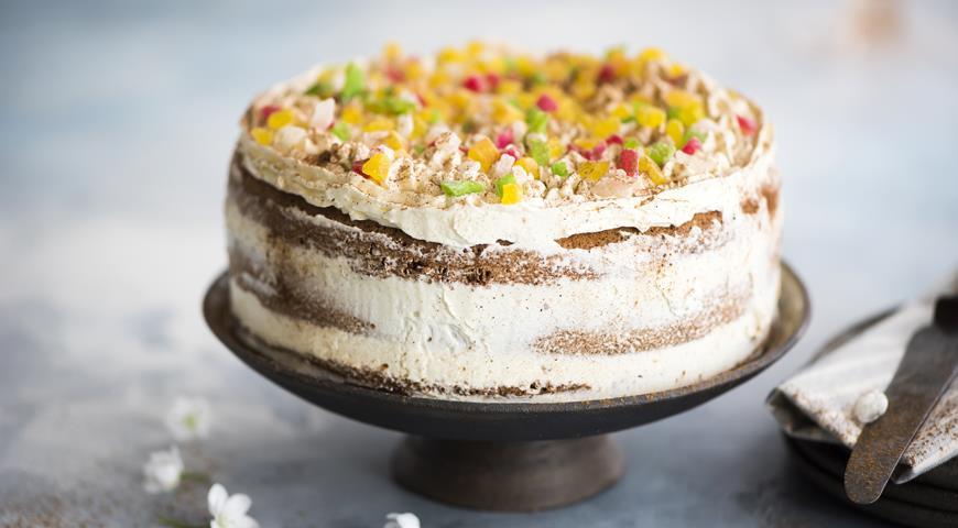 Торт из ржаных сухариков с масляным кремом на сгущенном молоке