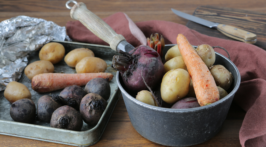 Вареные и печеные овощи для винегрета