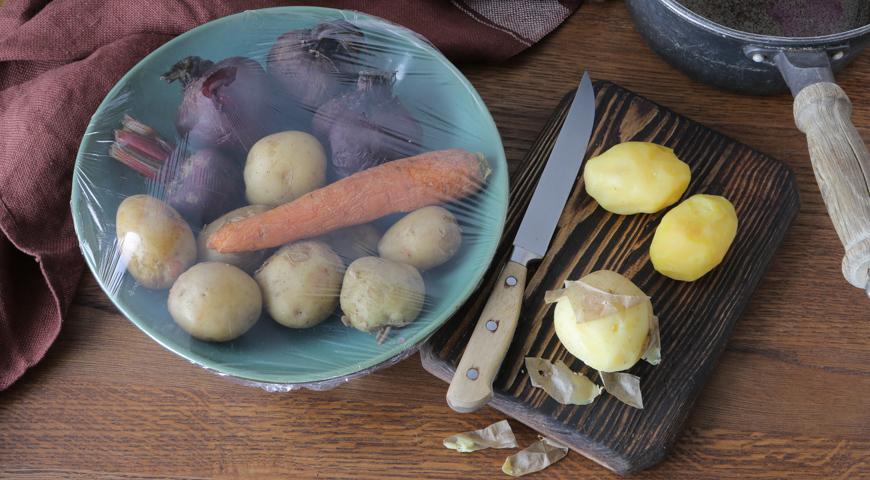 Вареные овощи для винегрета