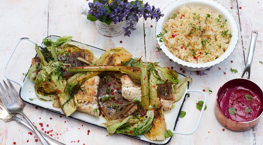 Жирная рыба и овощи на гриле со смородиновым соусом, пошаговый рецепт с фото