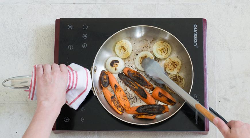 Борщ с мясом, классический рецепт. Обжариваем овощи