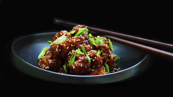 Цветная капуста в «липком» китайском соусе
