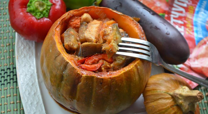 Фаршированная тыква с овощами