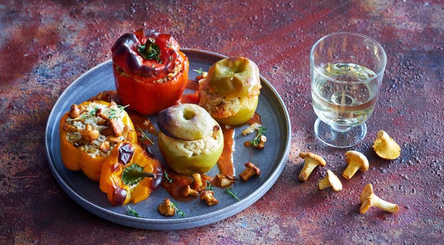 Фаршированные грибами перцы и яблоки, пошаговый рецепт с фото