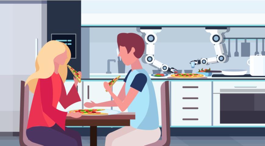 Робот готовит пиццу