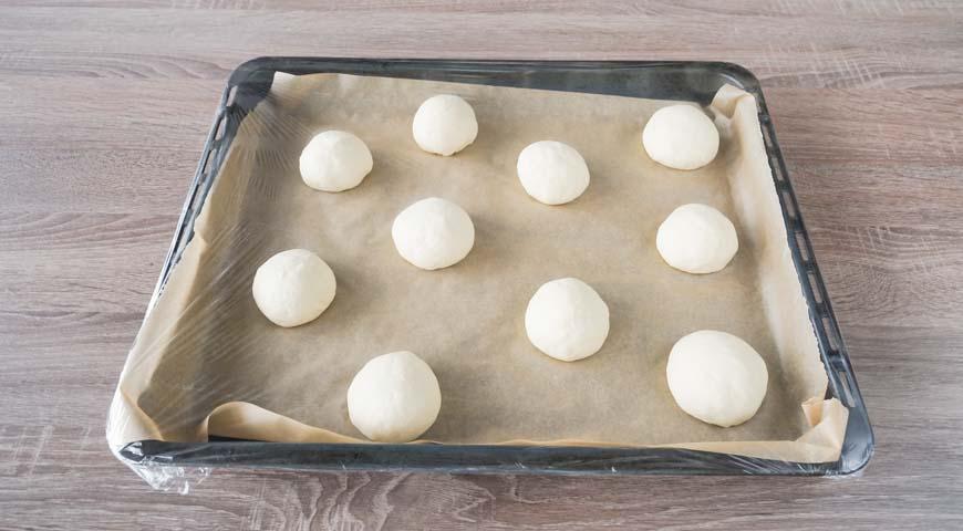 Булочки из дрожжевого теста в духовке, заготовки положитена противень